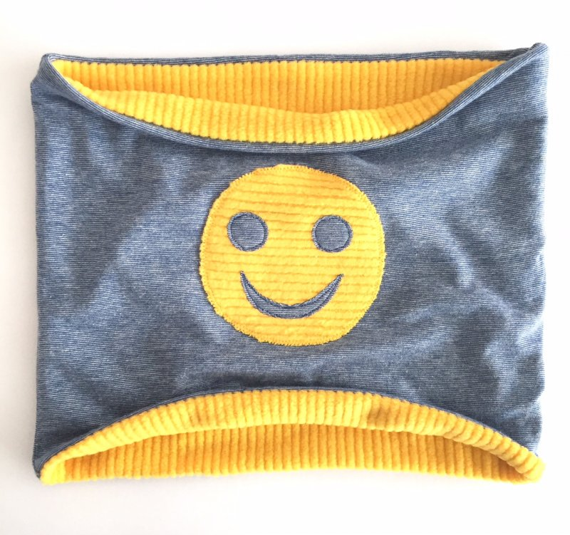 Loopschal Smiley grau-blau